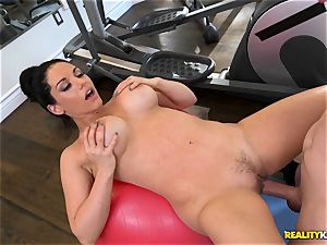 Bella Reese pounded nut sack deep in the gym