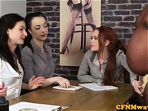 casting CFNM chick agent jerking ebony fuck-stick