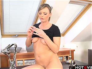 uber-cute blondie frolicking with her hump plaything
