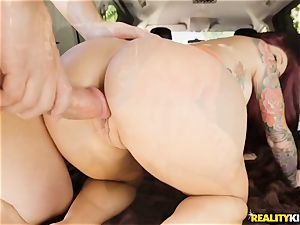 Monique Alexander blows a meaty spunk-pump in the car