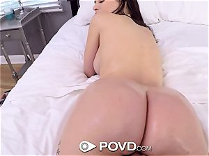 Lana Rhoades gets her fur covered coochie plumbed in a pov gig