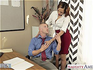 Stockinged stunner Serena Ali ravage in the office