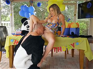 draped guy in panda costume tears up milf Cory chase