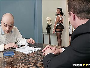 super-steamy ebony maid nearly get caught