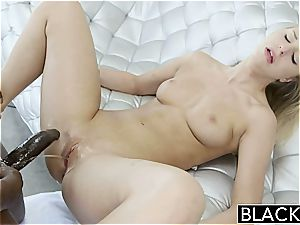 youthful light-haired Lacey Johnson busts on a ebony trouser snake