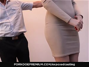 uncovered audition - petite Russian ginger-haired bursts rock hard