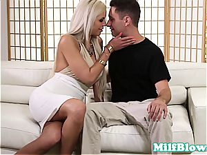 big-titted cougar dickblowing before messy facial
