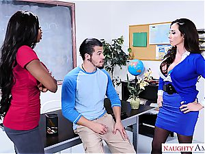 insatiable stud bangs his schoolteacher and stepmom at college