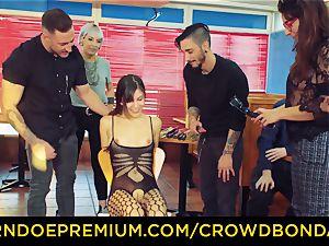 CROWD bondage - brown-haired victim female fetish public intercourse