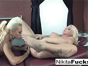 Nikita gets a relaxing massage from Leya