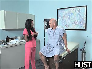 Latina nurse Sadie Santana gets both crevices spread