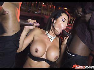 insane stunner Franceska Jaimes drilled by two big dark-hued schlongs