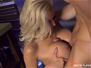 Vampiress Nina Elle inhales pipe before nibbling her sub