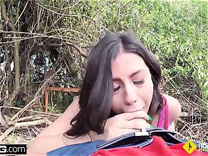 Roadside Natalie pov outdoors public sex with mechanic