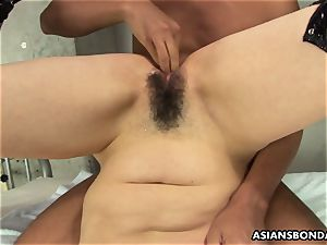 asian endures rough fingerblasting and a nipple torment