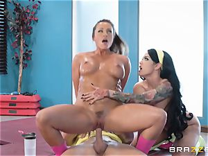 super-hot gym snatch screw with honies Abigail Mac and Katrina Jade
