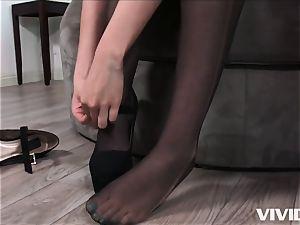 insatiable Melissa Moore jumps On A immense dark-hued penis