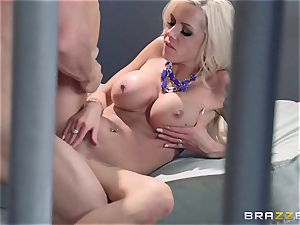 Nina Elle nails a handsome con in front of her cuckold hubby