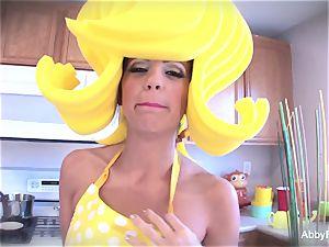 cartoon fashion Abigail Mac getting off in the kitchen