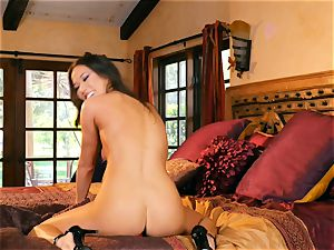 chinese Kalina Ryu honeypot plays with a red fake penis