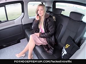 torn up IN TRAFFIC - cum on ass for naughty slender blond