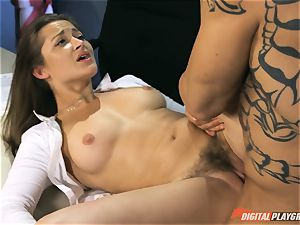 stunning brunette Dani Daniels torn up on the desk