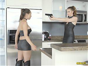 Anastasiya Hart and Elena Koshka making amends by tonguing gash