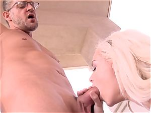 super tastey Elsa Jean takes no time accepting this massive man meat