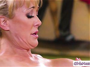 massagist Jill Kassidy rubdown Brandi love assets and gobbles her raw cunt