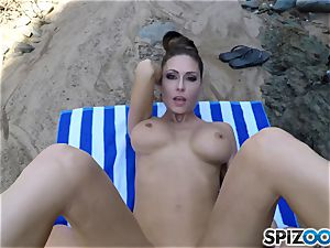 Beach bum Jessica Jaymes fucked deep in her handsome clit cooter
