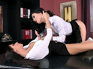 mind-blowing office fuckslut Bambi is getting laid for one scorching lesbian act
