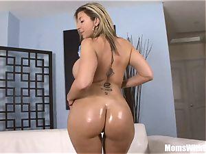 Oiled-Up blondie milf Sara Jay pounding black prick