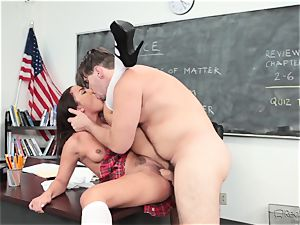 Amara Romani is tucked by the professor throughout his desk