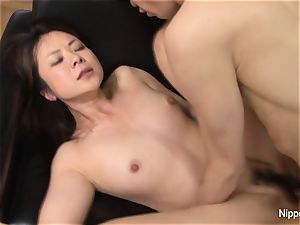 japanese milf nailed rigid while her mate tapes it