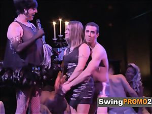 Macho hubby takes his wifey out to a nightclub with other swingers