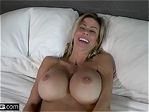 naughty mummy with humungous tits gets strewn with jism