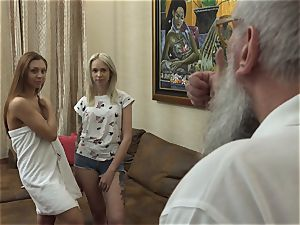 blond and dark-haired teens In older guy threesome fucky-fucky