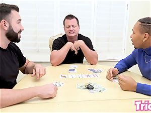 Trickery Tana Lea gets tricked into her very first gangbang