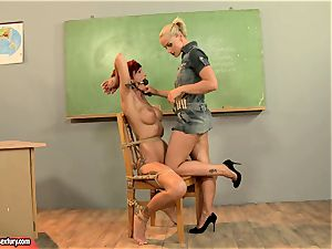 Kathia Nobili providing a crazy lesson to a red-hot red head