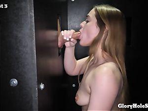 nubile doll eating gloryhole spunk from strangers