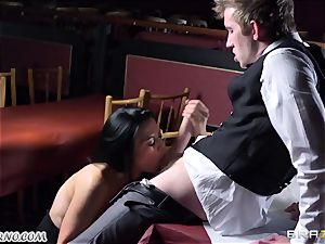 sumptuous huge-boobed waitress Jasmine Jae gets her cock-squeezing coochie humped by Danny