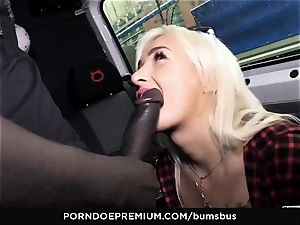arses BUS - towheaded beauty gets cum on jugs in car smash