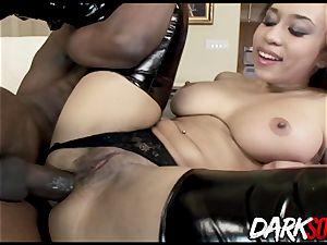 Aurora Jolie bouncing donk on black lollipop