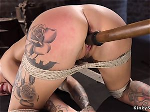 Toned alt ash-blonde with gigantic hooters tied like a hog
