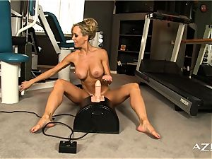 stunning platinum-blonde mummy rides sybian and blows a load rigid