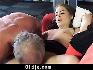Russian female deepthroat The shaft of an older grandfather