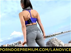 LA new-cummer French dark haired nymph plowed at the beach