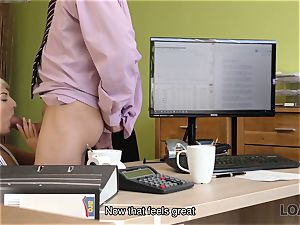 LOAN4K. Blonde-haired miss gets sissy nailed rock-hard in loan porno movie