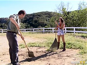 August Ames gets her hooters creamed outdoors