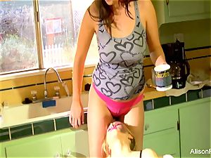 Alison Tyler and Katie Summers screw in the kitchen
